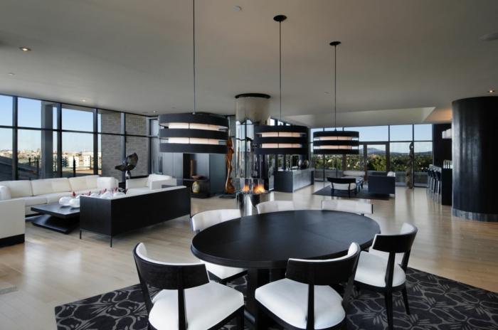 esszimmermöbel offenes esszimmer schwarzer esstisch elegante stühle