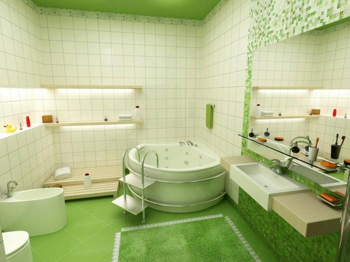feng shui farben grünes badezimmer ergonomische badewanne