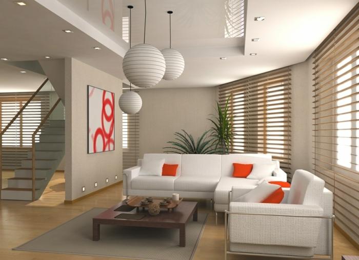 feng shui farben offener wohnplan weiße couch orangefarbene kissen