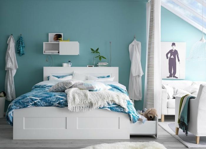 feng shui farben türkisfarbene wände schlafzimmer