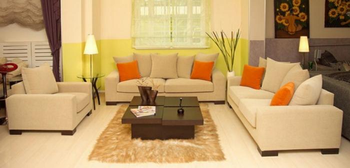 feng shui farben wohnzimmer hellgrün orange