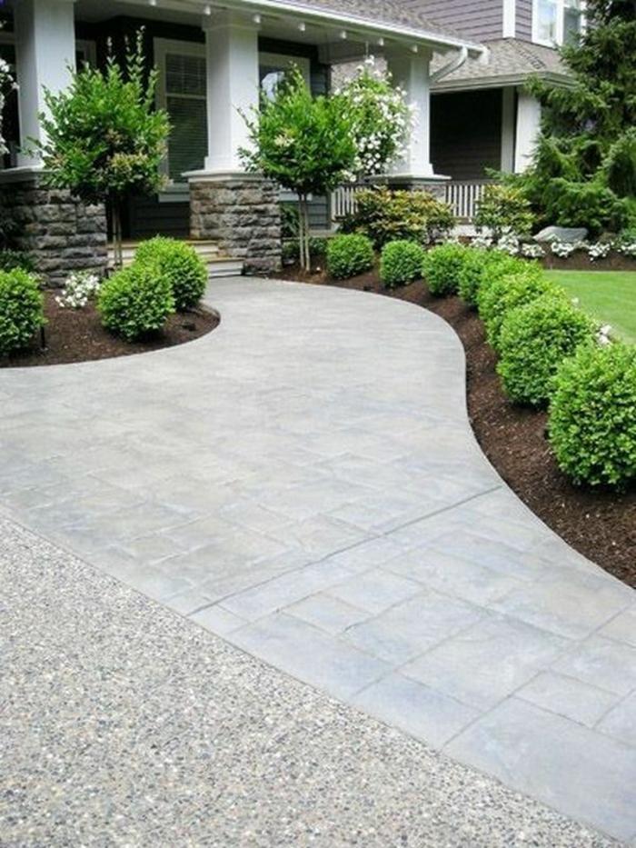 garten gestaltung eingangsbereich vorgartengestaltung betonpflaster