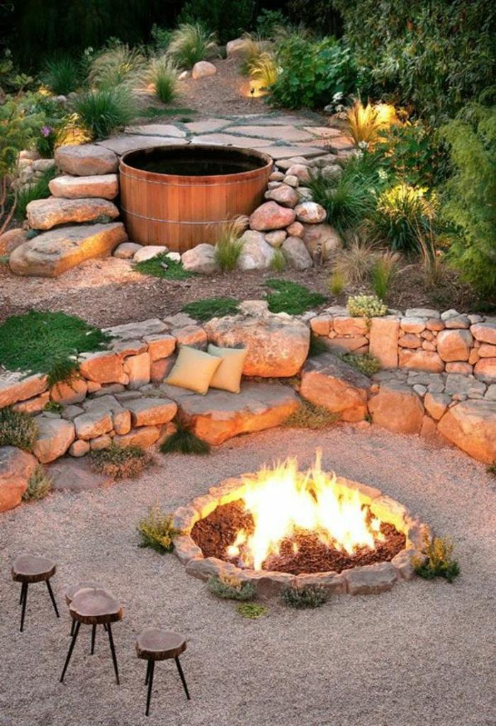 garten gestaltung mit steinen und kies feuerstelle