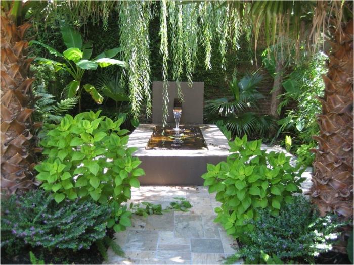 garten verschönern wasser pflanzen gartenwege