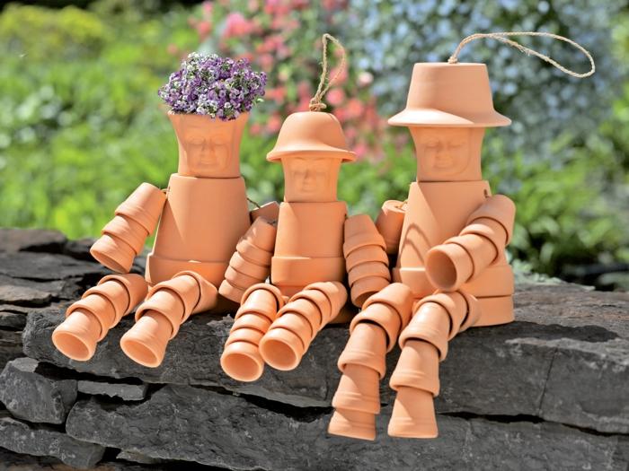 gartendeko basteln gartenpflanzen blumentöpfe basteln