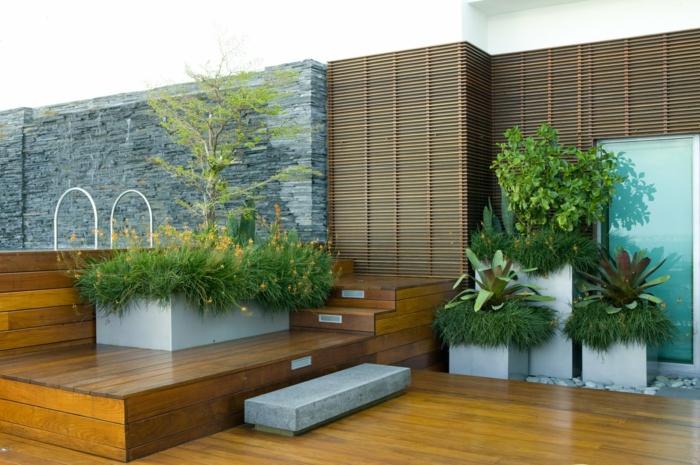 gartengestaltung ideen coole pflanzenbehälter treppen