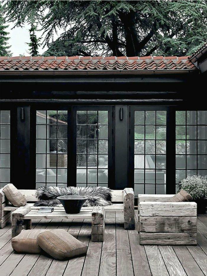 gartenmöbel set holzmöbel rustikale terrassengestaltung
