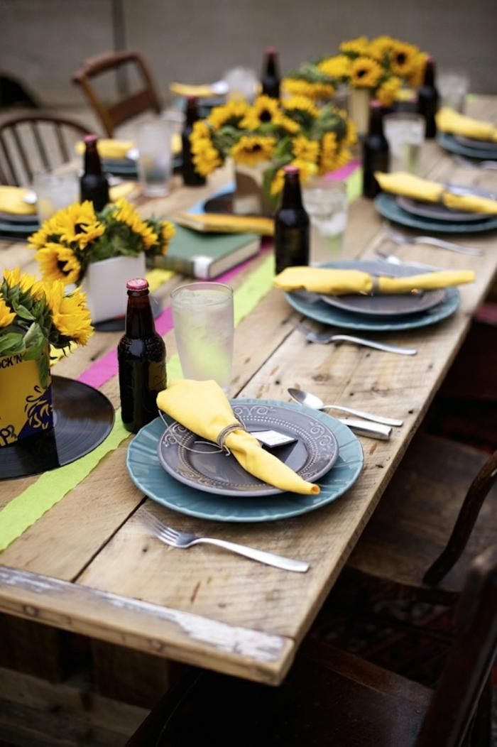 gartenparty tischdekoration gelbe servietten