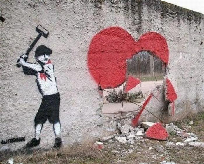 gebrochenes herz graffitti kunst