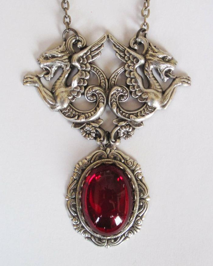 gothic schmuck roter stein drachen silber