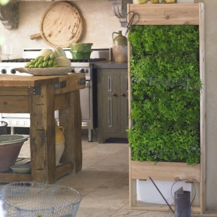 grüne wände küche kräutergarten vertikal