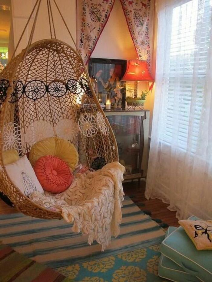 hängematte garten hängekorbsessel rattanmöbel wohnzimmer