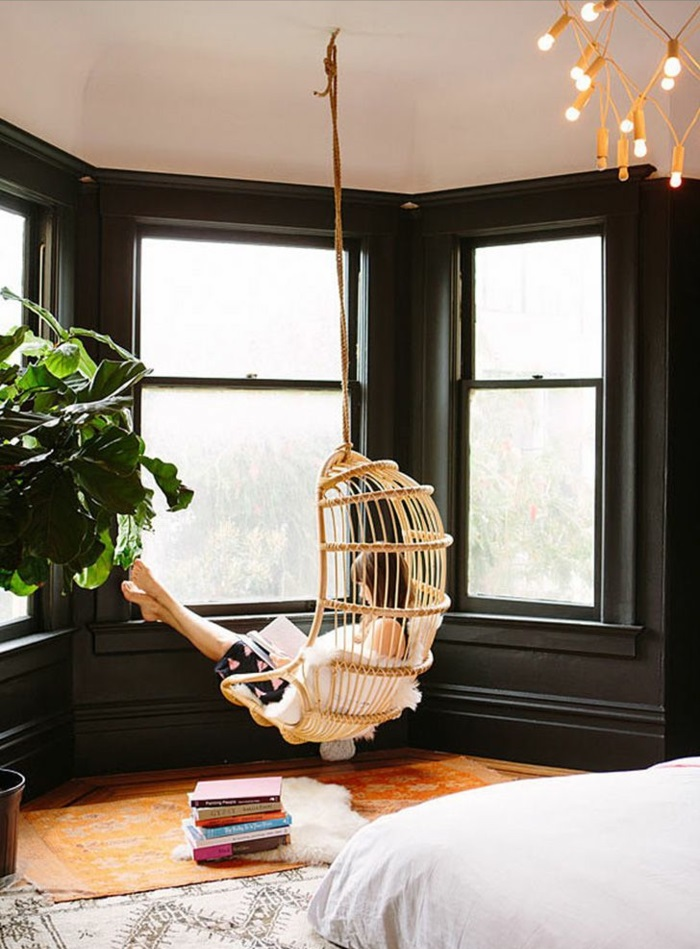 hängematte garten hängesessel mit gestell schlafzimmer ideen