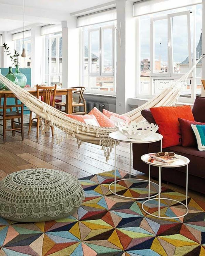 hängematte sitzkissen teppichboden einrichtung wohnzimmer