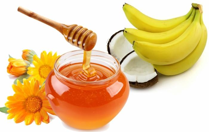 haarpflege tipps haarmaske bananen honig kokos