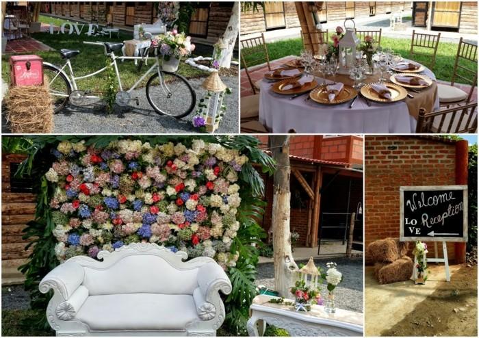 hochzeit vintage gestalten dekoideen alte fahrräder sofa kommode blumen