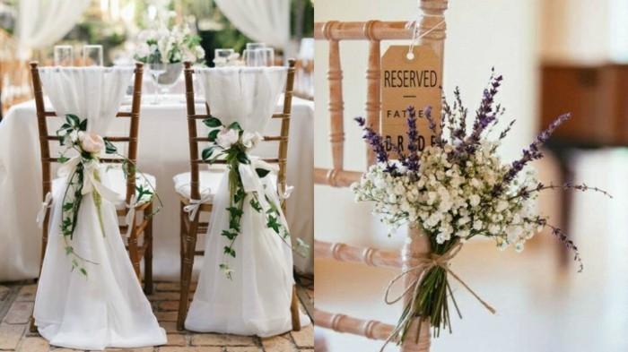 hochzeitsdeko ideen vintage stühle mit stoff und blumen dekorieren