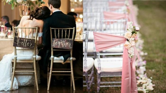 hochzeitsdekoration vintage stuhldeko mit blumen und stoff