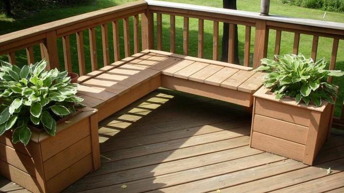 holz veranda bauen holzart auswählen holzmöbel bank