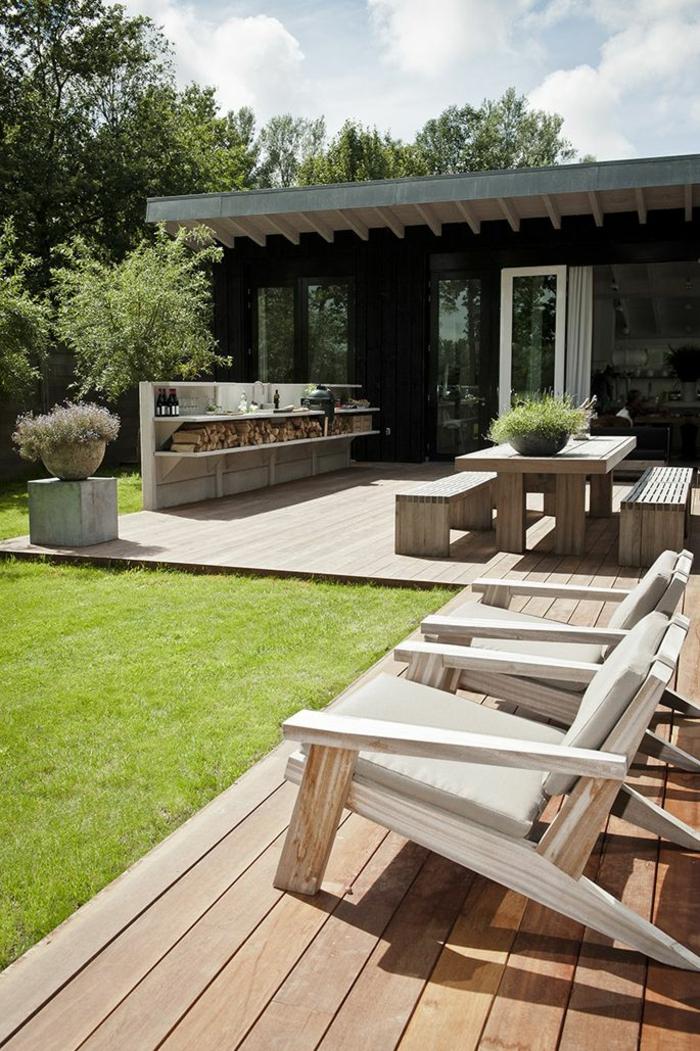 holz veranda bauen liegestühle aus holz