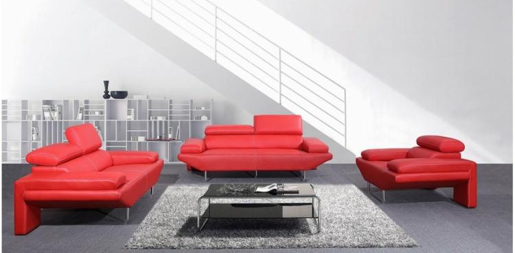 italienisches sofa italienische designermöbel wohnzimmer set rot