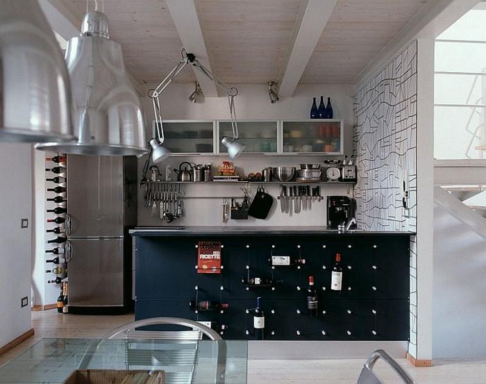 küchendesign coole kücheninsel weinflaschen lagern