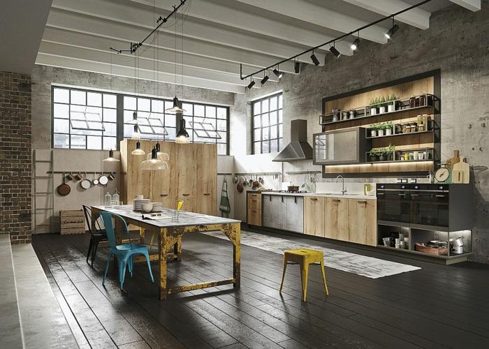 kücheneinrichtung coole industrielle küche schick