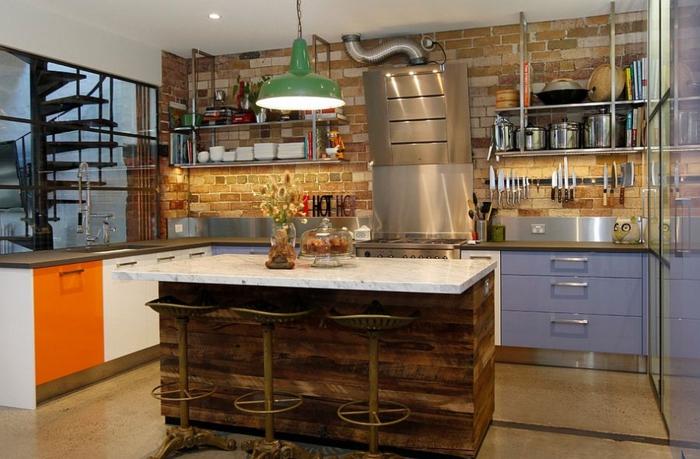 küchendesign farben kombinieren industrieller look