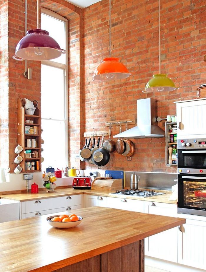 küchendesign frische pendelleuchten eklektisch industriell