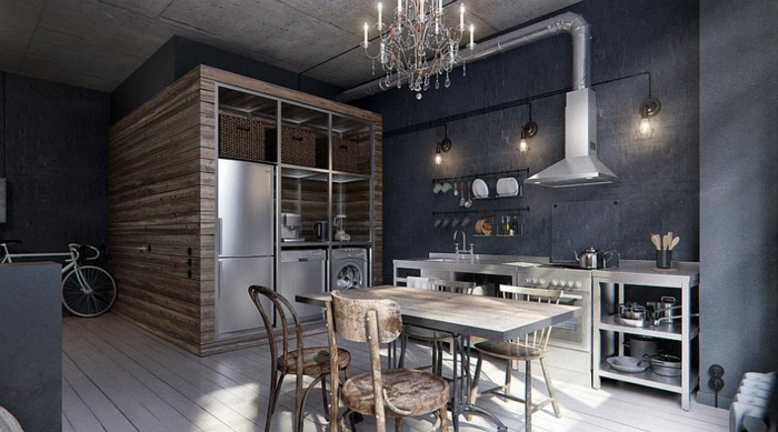 kücheneinrichtung grau rustikale elemente cooler kronleuchter