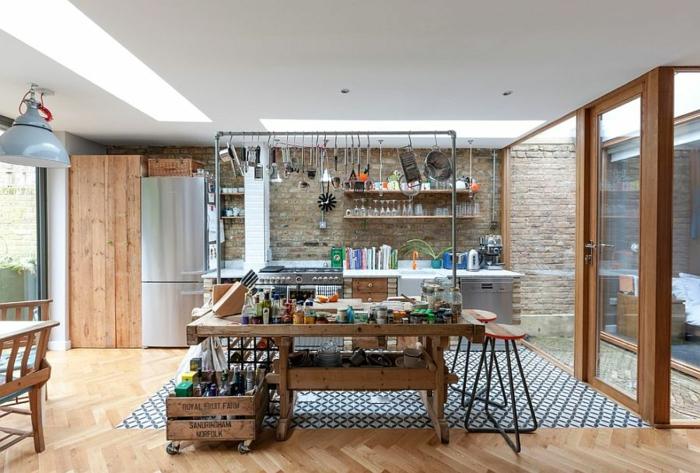 küchendesign aufbewahrungsraum holz industriell