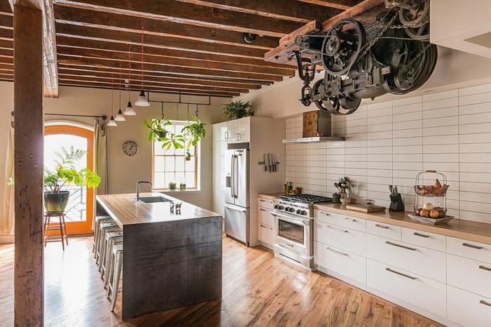küchendesign coole deko pflanzen industriell