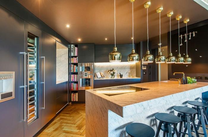 küchendesign coole kücheninsel pendelleuchten
