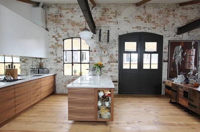 küchendesign coole wandgestaltung kücheninsel