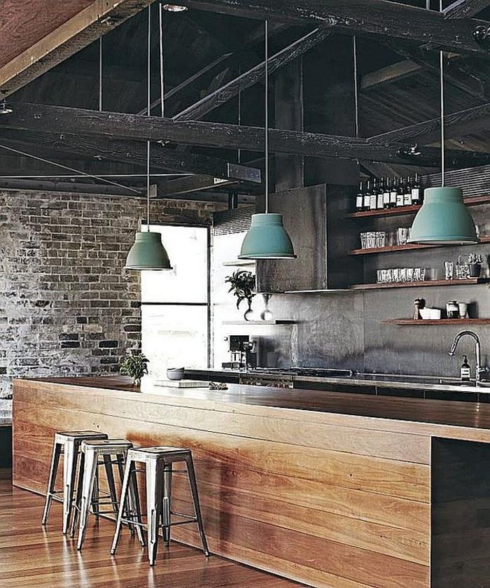 küchendesign dachgestaltung grüne pendelleuchten