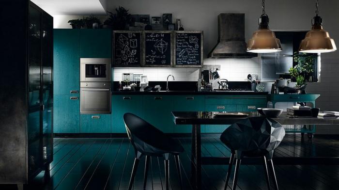 küchendesign dunkles interieur schwarz grün industriell