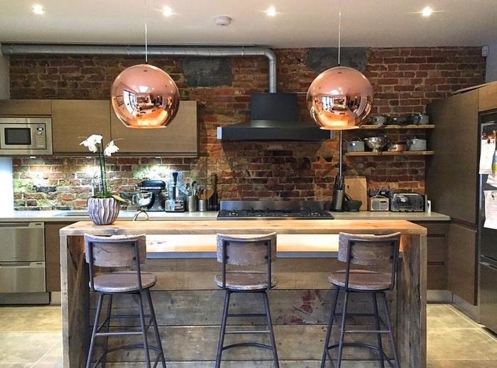 küchendesign industrielle küche rustikale kücheninsel