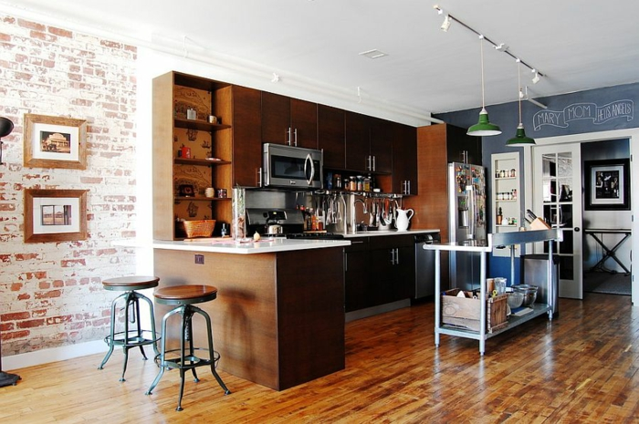 küchendesign ideen industrielle küche ziegel holz