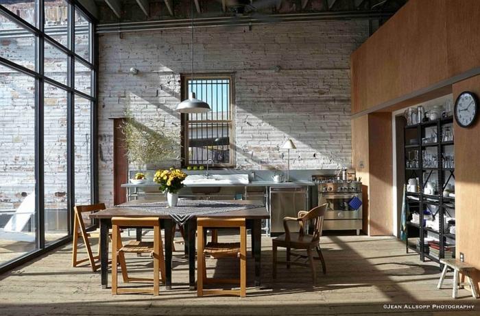 küchendesign industrieller look esstisch pflanzen