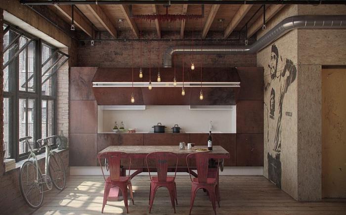 küchendesign kombination von texturen pendelleuchten