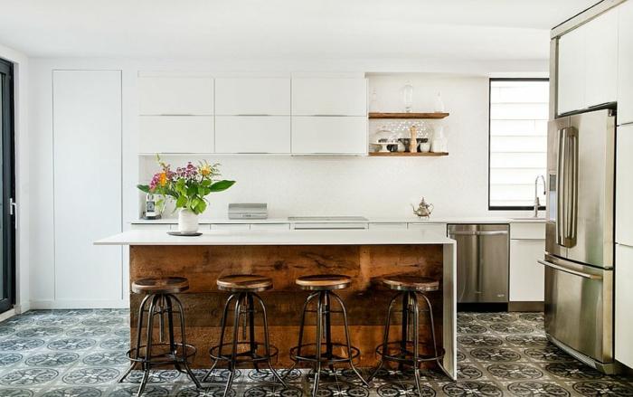 küchendesign ideen weiß offene wandregale kücheninsel