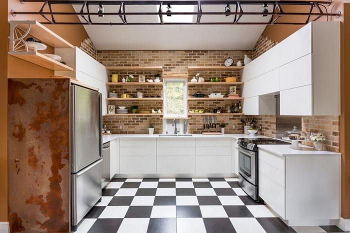 küchendesign weiße küchenschränke offene regale