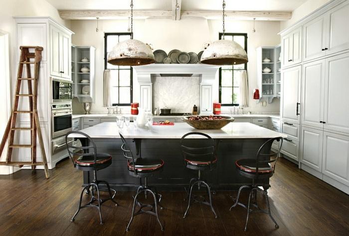 küchendesign weiße wandfarbe dunkler boden industrieller look