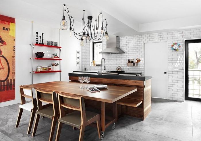 küchendesign weiße wandfarbe ziegelwände coole pendelleuchten