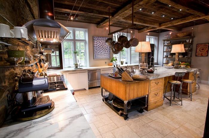 kücheneinrichtung industriell coole ausstattung bodenfliesen