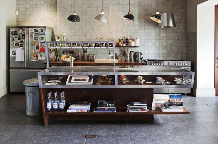 küchendesign industriell coole pendelleuchten ausgefallene kücheninsel
