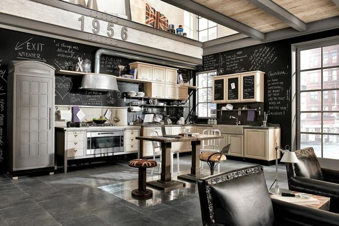 kücheneinrichtung industriell farbkontrast schwarz beige