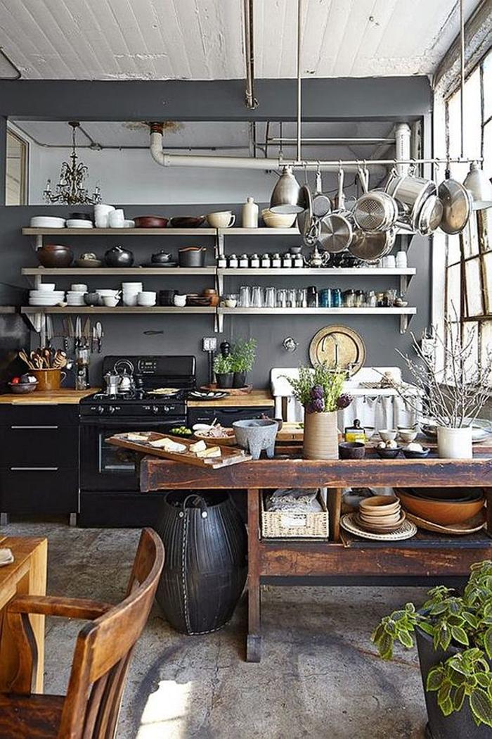 kücheneinrichtung industriell graue wand küchenausstattung