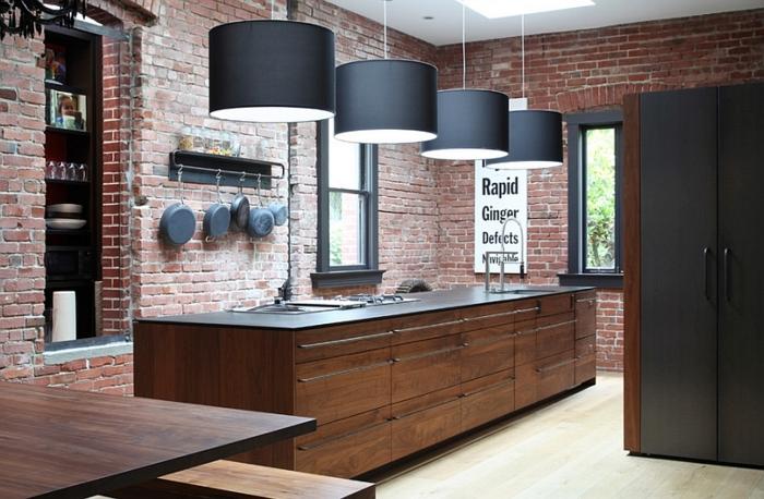 kücheneinrichtung industriell moderne elemente ziegel