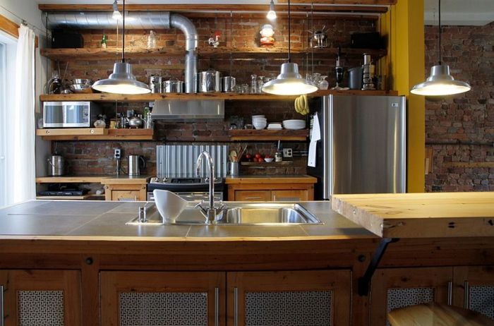kücheneinrichtung industriell offene wandregale ziegel holz